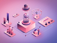Isometric data infographic