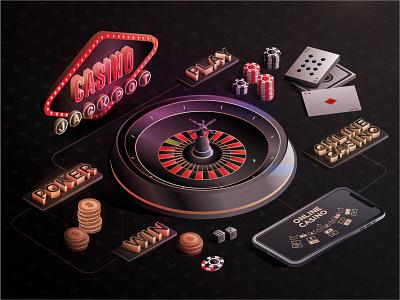 Online Casino isometric pack light las vegas poker money ball vector photoshop illustration 3d art design game casino games roulette chips play card win jackpot casino
