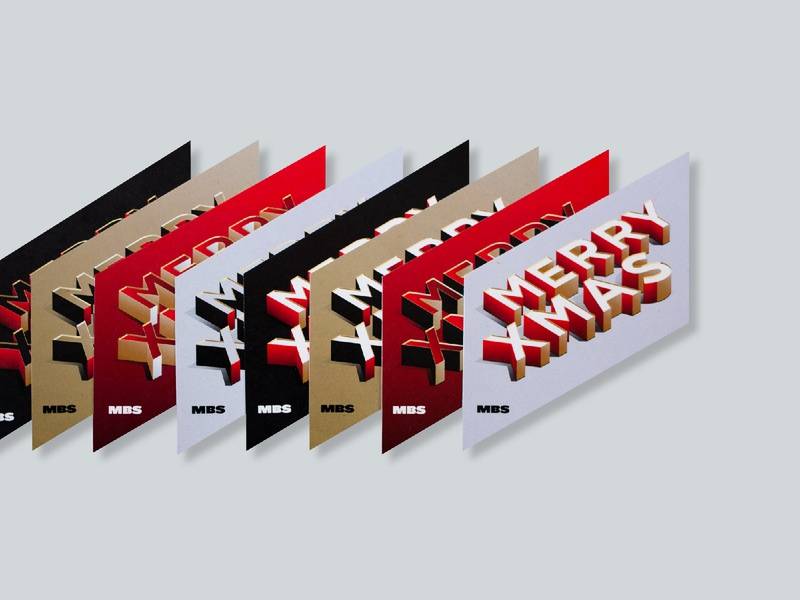 MBS Christmas postcards 2019 studio blur motionblur client gift black red gold typography illustration behance photoshop isometric 3d art design color xmas christmas
