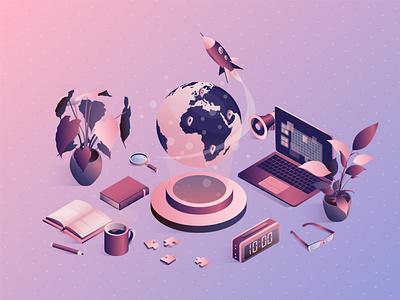 Isometric university concept with school elements. vector illustration art 3d design exam digital laptop sound rocket flower plant puzzle coffee book glasses global globe