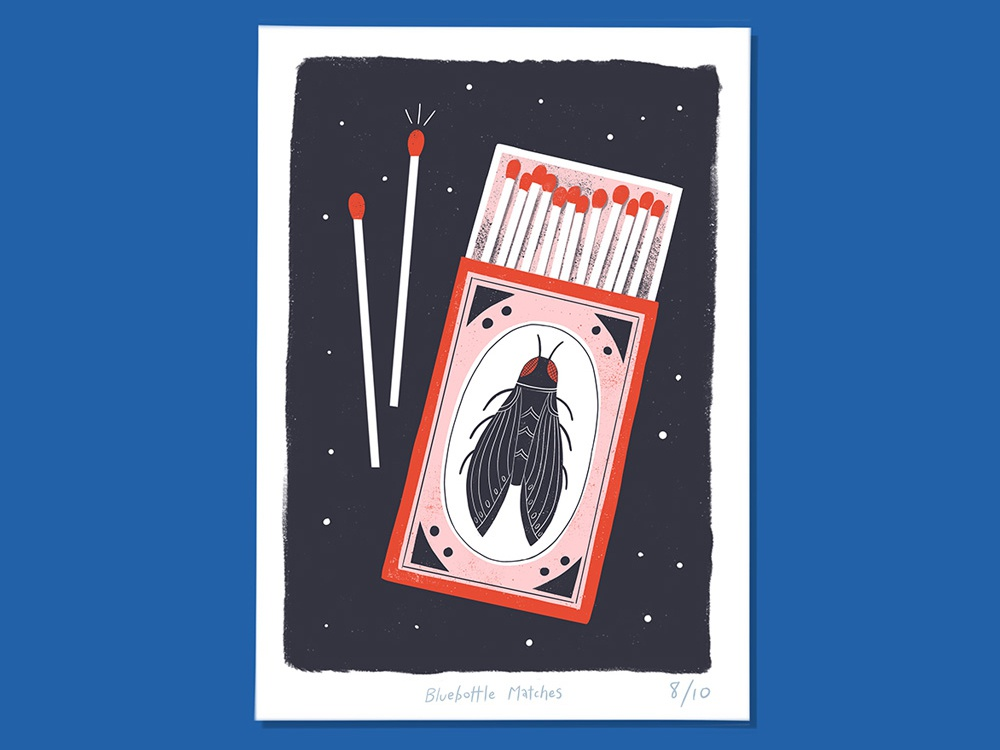 Bluebottle Matches feedbackplease graphic print matches thunderandicecream illustration
