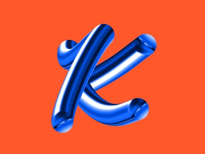 K bright cool typeface vector frisco psd premium blue procreate creative branding dribbble typedesign type art type 3d blend orange typography