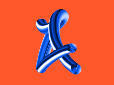 A dribbble typography art typographic bend metallic blue orange vector 3dtype 3d art type ipad ipadpro pen creative fresco adobe illustration design typography