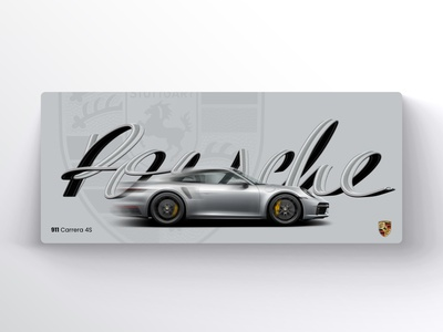 Porsche art calligraphy type porsche 911 911 porsche website design minimal ux ui grey fresco adobe creative vector automotive car typography dribbble