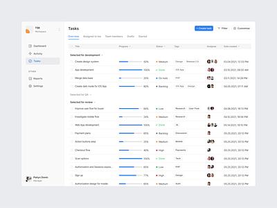 Task Management Application Concept tracking time menu table interface application platform minimal clean ui concept task management