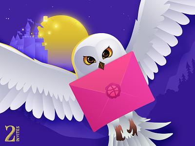 Dribbble Invites 🦉 creative freelance designer barani anand owl illustration owl harry pottor hedwig illustration give away invite dribbble invite
