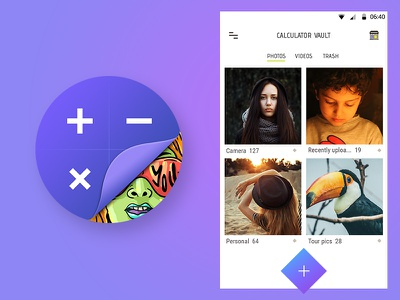 Calculator Vault - Android App illustration creative android icon gallery freelancer ui design calculator barani anand icon design app icon android app