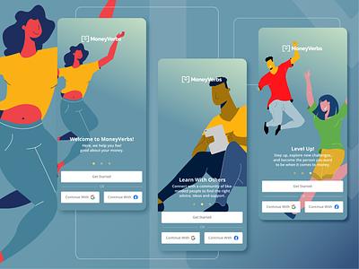 MoneyVerbs ios design branding logo financial app colorful sketches flat illustration lettermark community product design visual design ui ux