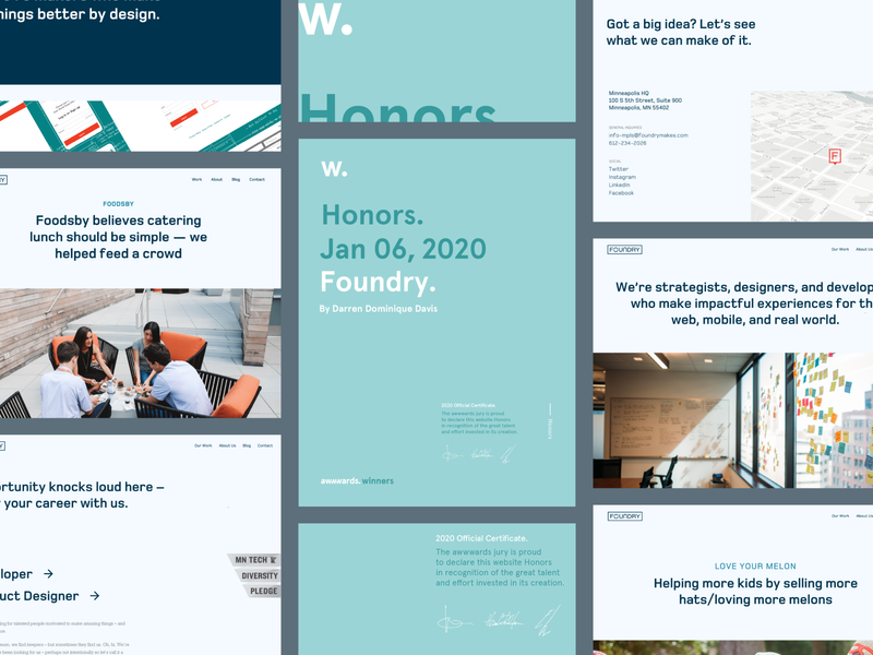 Foundry minneapolis landing page case study careers page about us clean minimal honors awwwards ui ux layout product design agency website agency