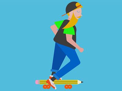 pencil skate illustration art personal project childrens illustration childrens book charachter design illustration design dribbble best shot flat design illustrator vector art