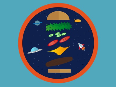 In&out of space. dribbbleweeklywarmup patch design food illustration space burger vector illustration illustration design illustrator illustration art dribbble best shot personal project flat design vector art