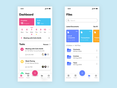 Projects & Tasks manager App floating button calendar crm files task app ios dashboard app dashboard