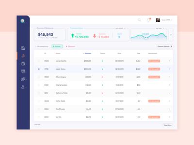 Online banking platform • Transactions page