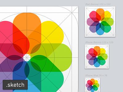 iOS 7 photo app icon ios7 icon sketchapp sketch template photo retina ipad iphone