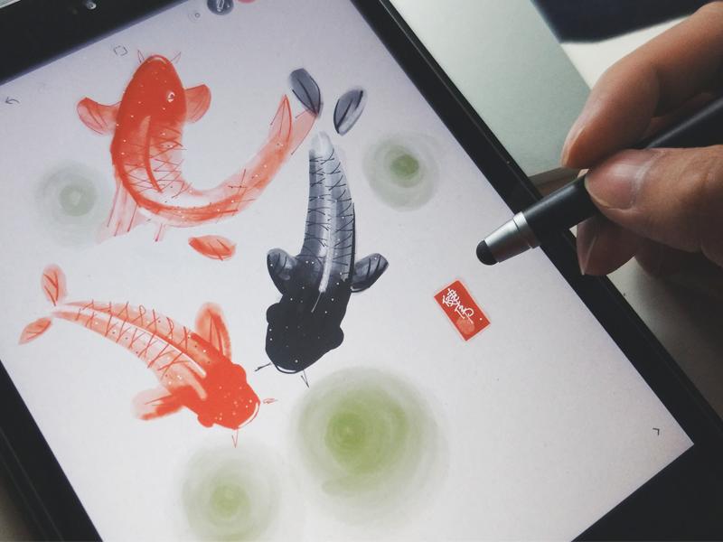 Koi fish sketch sketch koi ipad digital painting bamboo paper app wacom chinese painting