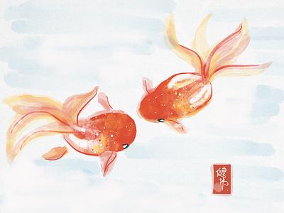 Goldfish goldfish bamboo paper app sketch digital painting chinese painting wacom