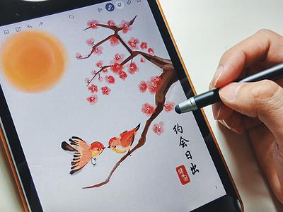 Love birds cherry blossom ipad sketch bamboo paper app digital painting wacom sunrise love sparrow