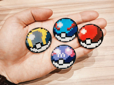 Pokeballs pokeballs pokemon pixel badges sketchapp vector