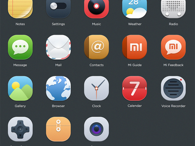 MIUI icon set weather message calendar camera contact music settings mail notes app icons miui