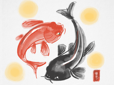 Koi Fish Couple fish digital painting chinese painting koi wacom bamboo paper app ipad sketch