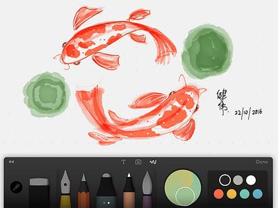 Koi Fish doodle watercolor digital painting sketch paper koi fish painting ipad fiftythree apple pencil