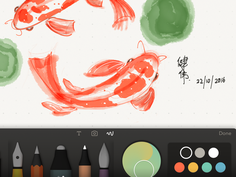 Koi Fish doodle watercolor digital painting sketch paper koi fish painting ipad fiftythree apple pencil