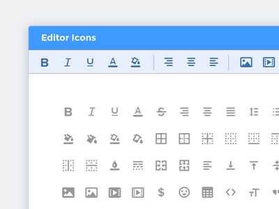 Editor Icons icon set table emoji picker color underline italics bold format rich text icons editor