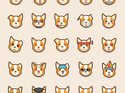 Corgi Sticker Set illustrations dog emoticon emoji stickers corgi