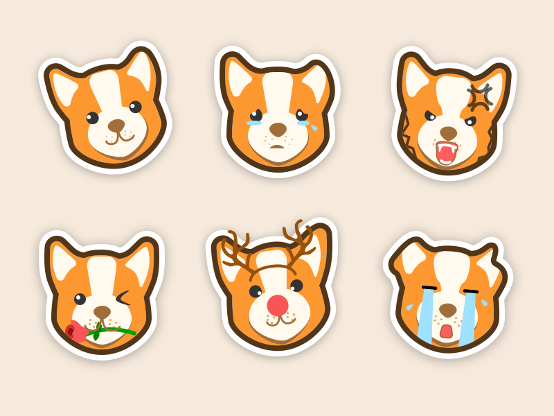 Corgi Sticker Set illustrations dog emoticon emoji stickers corgi