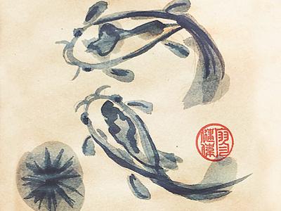 Koi Fish brush ink chinese painting fish koi