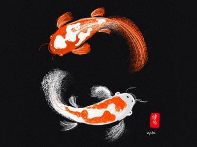Koi Fish Digital Painting linea apple pencil ipad fish koi painting digital
