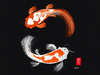 Koi Fish Digital Painting