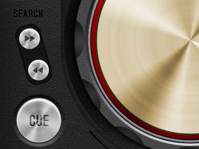 DJ Console - close up ui ipad dj console pioneer chrome buttons