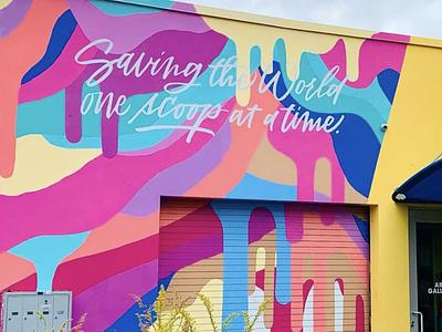 ICE CREAM MELTING MURAL color streetart painting art artist mural