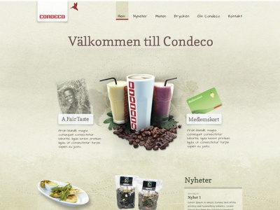 Sketch for Condeco sketch photoshop nature cafe web design graphic design typography coffee