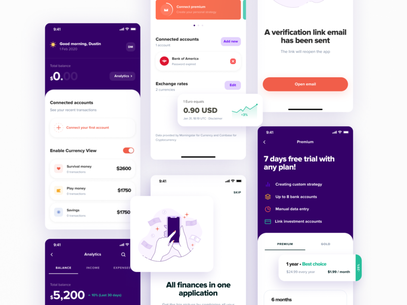 Financial App mobile bank cards goal budget credit finance figma ux ui