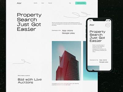 Alor - website redesign black  white black minimal figma ui realestate