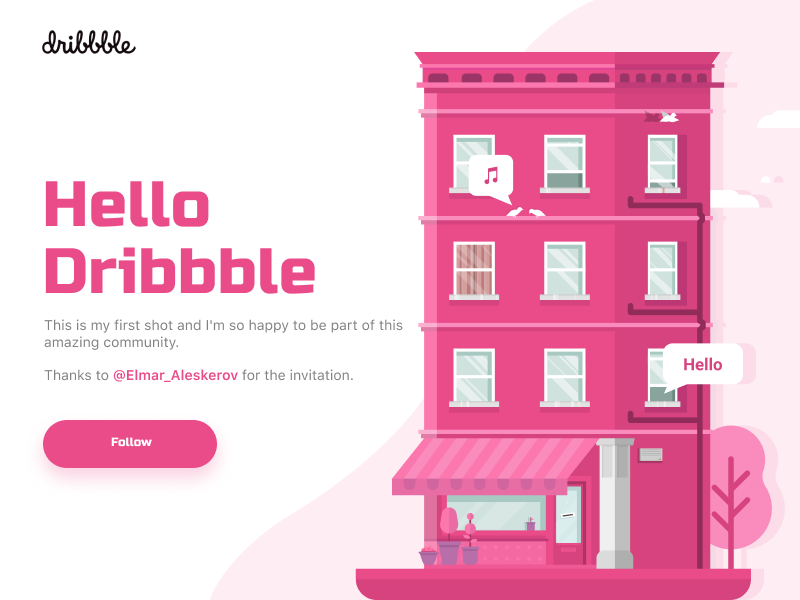 Hello Dribbble illustration debut first shot hello dribbble