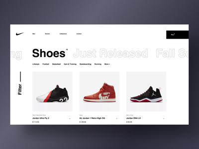 Nike - Catalog typography e-commerce website grid desktop fashion black design clean app web minimal concept figma ux ui