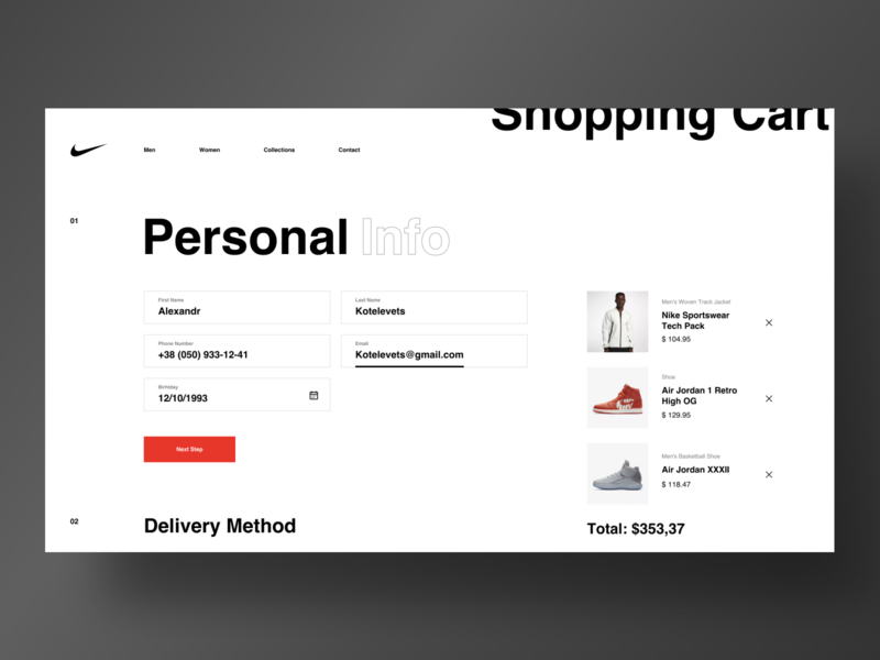 Nike - Shopping Cart by Alexandr Kotelevets on Dribbble