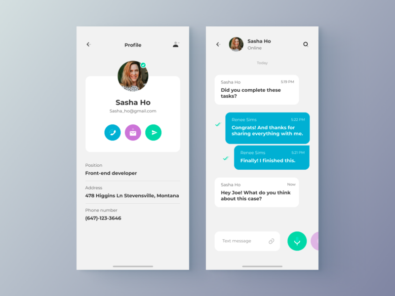 Chat - App settings profile chat app chat design clean app web minimal figma concept ux ui