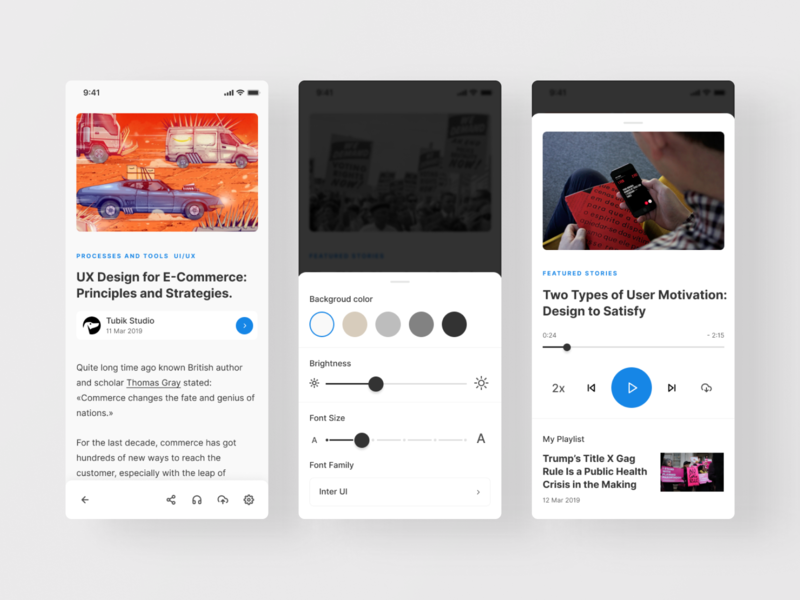 Pocket app - redesign re-design player reader design clean app minimal figma concept ux ui