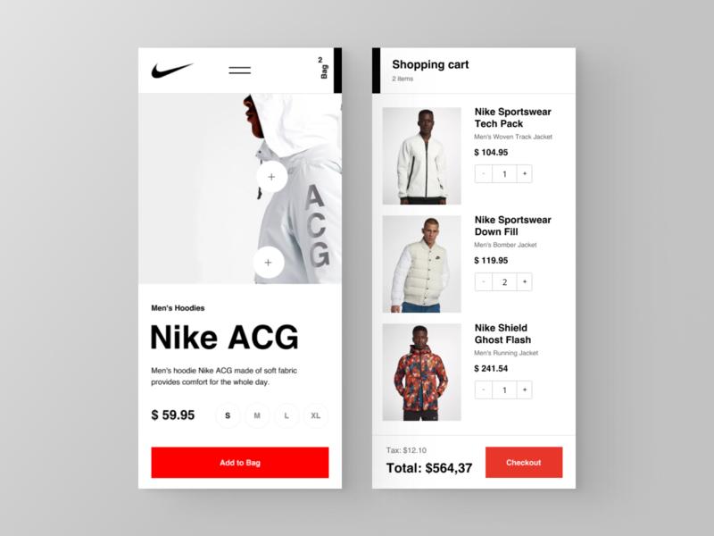 Nike Contact e-commerce website grid desktop fashion black design clean app web minimal figma concept ux ui