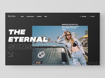 Bershka – website redesign chat ecommerce typography e-commerce website grid desktop fashion black design clean app web minimal figma concept ux ui