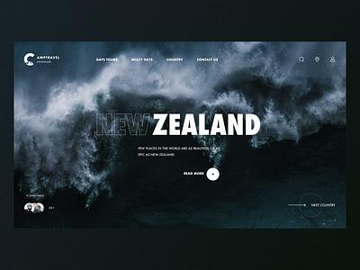 Camptravel – Website desktop new zealand website grid clean black typography travel web minimal figma concept ux ui