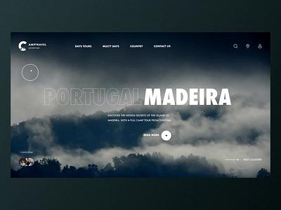 Camptravel – Main screen animation logo typography desktop black design app clean web minimal figma concept ux ui