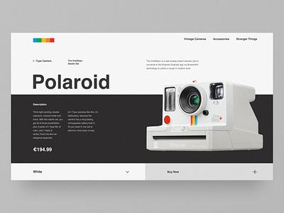 Polaroid – Website Concept desktop black e-commerce grid polaroid camera clean web minimal figma concept ux ui