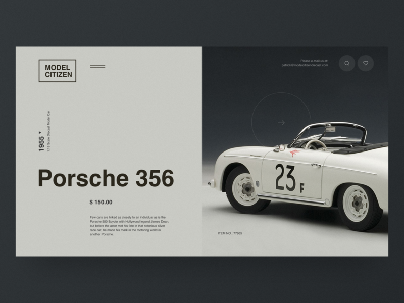 Model Citizen - Website Concept porsche helvetica e-commerce grid black design clean web minimal figma concept ux ui