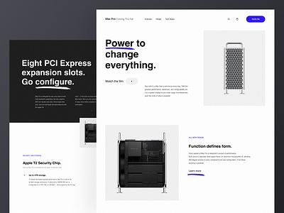 Mac Pro - Landing Page (Redesign Concept) apple design macpro macbook apple typography grid desktop black design app clean web minimal figma concept ux ui