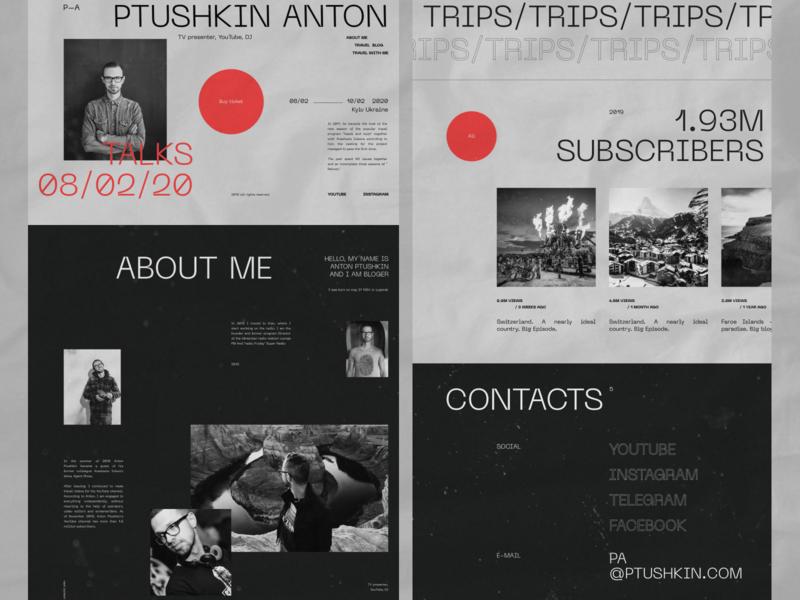 Anton Ptushkin - website desktop grid black clean web minimal figma concept ux ui